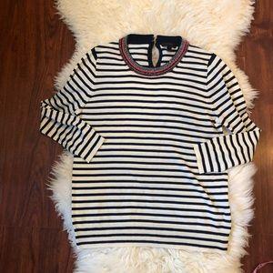 J. Crew Size L Beaded Collar strip sweater